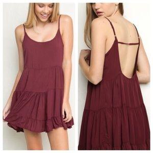 Brandy Melville Burgundy Jada Mini Dress One Size